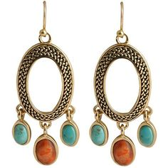 Art Smith by BARSE Turquoise & Coral Oval Earrings (One Size) (315 BRL) ❤ liked on Polyvore featuring jewelry, earrings, orecchini, blue turquoise jewelry, turquoise earrings, oval earrings, barse jewelry and beading earrings