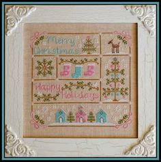 """""""Vintage Chrismas"""" is the title of this cross stitch pattern from Country Cottage Needleworks that uses DMC (3023,3347,3371,3863 and White),..."""