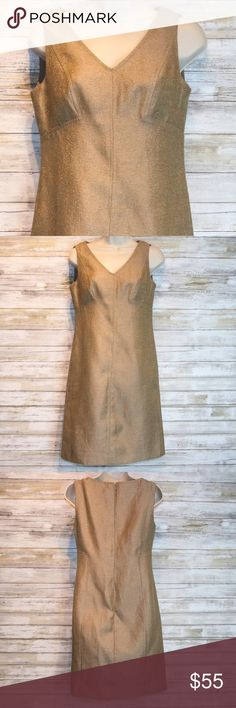 Like New Talbots gold linen metallic dress sz 2P Talbots gold linen  metallic dress sz 2P Like New Condition Talbots Dresses