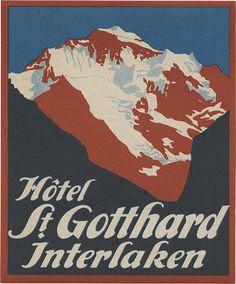 Hôtel St. Gotthard, Interlaken (90mm x 75mm)