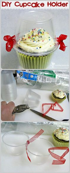 What a creative and simple way to keep your cupcakes fresh! A DIY Cupcake Holder is the perfect way to keep your cupcakes fresh, moist, and adorable! This tutorial makes it easy to carry around your cupcakes or gift them to others. Diy Cupcake, Cupcake Cakes, Cupcake Icing, Cupcake Party, Wedding Cupcakes, Cupcake Creative, Frosting, Porta Cupcake, Sweets