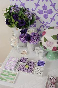 pretty purple dessert table from citrus and orange