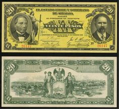1915 State of Sinaloa Mexico Twenty Pesos Currency Note Pick Number S1046 Crisp Uncirculated Banknote