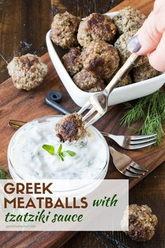 Looking for a protein-filled appetizer that everyone will devour? The Greek Meatballs with Tzatziki Sauce are a great addition to any party spread. #meatballs #makeahead #appetizers #greek