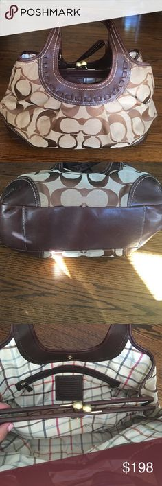 Coach bag 3 compartments. Interior is clean. Used MAYBE 3 times tops. Leather is in excellent condition except for strap as pictured. It was caught in my car door on my first use. Comes with dust bag. May be able to find the original tag. (Searching) purchased at Macy's. Coach Bags