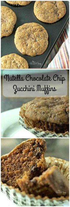 Nutella Chocolate Chip Zucchini Muffins are perfect for afternoon breaks, after…