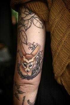 wonderlandtattoospdx: fennec fox above the elbow by Alice Kendall!