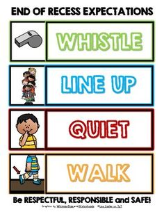 This cute sign serves as a reminder of your school's Classroom Discipline, Classroom Behavior Management, Classroom Procedures, Classroom Rules, Classroom Setup, 1st Day Of School, Beginning Of The School Year, School Days, School Recess