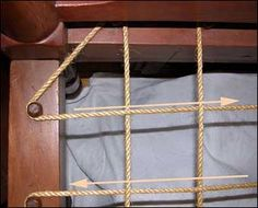 Rope bed info & how-to. Jesse's first bed was an early rope bed also...still in the rafters.