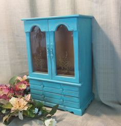 Large Wooden Jewelry Box, Vintage, Up-Cycled, Large, Shabby Cottage Chic, French…