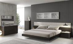 Porto Bedroom Set, Dark Oak And Ivory High Gloss Finish. LED Light With A