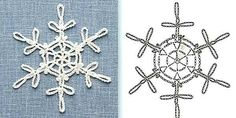 Crochet Knitting Handicraft: New Year's Snow Crochet Snowflake Pattern, Crochet Stars, Crochet Snowflakes, Crochet Blocks, Crochet Motif, Crochet Flowers, Knit Crochet, Crochet Patterns, Crochet Winter
