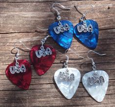 Handmade Patriotic USA Guitar Pick Earrings - Choice of Color. Camo, Confetti, Red, White or Blue.