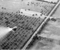A rocket projectile fired from the aircraft, heading towards German motor transport trying to escape through the Argentan-Falaise gap on a road near Livarot, Normandy.