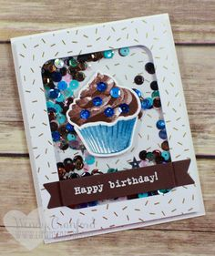 This card was created using the Stampin' UP! Sweet Cupcake stamp set and framelits. Make your next birthday card stand out with a shaker cupcake card. Wendy Cranford www.luvinstampin.com