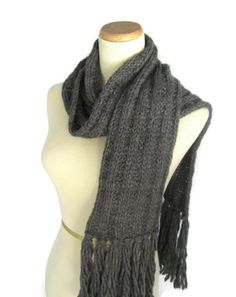 Gray Scarf, Bulky Scarf, Knit Scarf, Women, Winter Scarf, Charcoal Scarf, Gift Idea, Fiber Art, Unisex, Men Scarf - pinned by pin4etsy.com