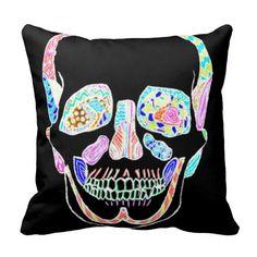Hand drawn Black and Neon Anatomical Sugar Skull Throw Pillow #zazzle #neon #sugarskulls #pillows