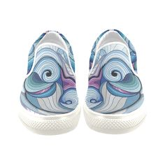Astract baby dolphin Women's Unusual Slip-on Canvas Shoes (Model 019)