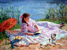 girl reading - Alexander Averin (Russian, b. 1952).