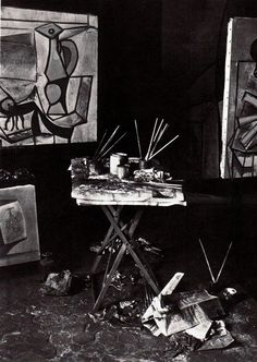Picasso's palette, taboret, and brushes at his Rue des Grands-Augustins studio, photograph by Brassai.