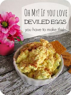 The best deviled egg recipe. It's a spread! maybe spicy brown mustard instead of yellow; or lemon juice; or horseradish sauce. Egg Recipes, Appetizer Recipes, Great Recipes, Cooking Recipes, Favorite Recipes, Easter Recipes, Recipies, Yummy Appetizers, Cooking Ideas