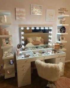 SlayStation® Pro Tabletop + Vanity Mirror + 5 Drawer Units Bundle - Impressions Vanity Co. - - SlayStation® Pro Tabletop + Vanity Mirror + 5 Drawer Units Bundle – Impressions Vanity Co. Cute Room Decor, Teen Room Decor, Room Ideas Bedroom, Bedroom Decor, Bed Room, Master Bedroom, Cozy Bedroom, Ikea Bedroom, Bedroom Furniture