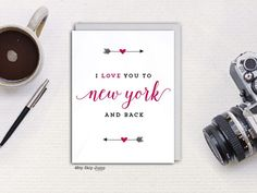 I Love You To New York and Back greeting card  #hopskipjumppaper #love #giveaway #ireland #tennessee #maine #rhodeisland #alabama #honeymoon #vermont