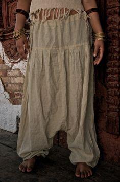 Unisex Cream Afgani Alladin AliBAba Pants made of softest cotton Tribal Fashion, Boho Fashion, Ropa Shabby Chic, Aladdin Pants, Dance Pants, Trouser Pants, Yoga, Organic Cotton, Unisex