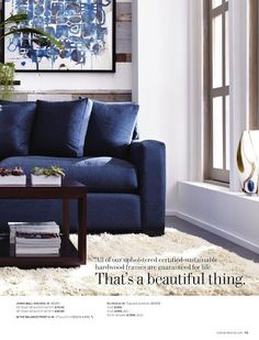 Really love this color combination. The white walls and dark floors with large white rug really give you options. I really like the dark wood and rich blue sofa. Has a comfortable, masculine vibe.