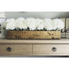 Mason Jar Planter Box(flowers Included) Centerpiece Farmhouse Decor... ($55) ❤ liked on Polyvore featuring home, home decor, small item storage, home & living, home décor, white, white flower boxes, white flower centerpieces, wood flower box and white wood box