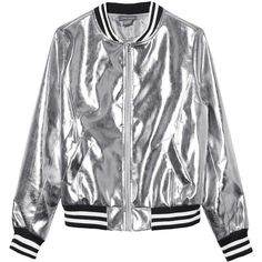 Sans Souci Silver metallic vegan leather bomber jacket (1,105 MXN) ❤ liked on Polyvore featuring outerwear, jackets, tops, coats, silver, fake leather jacket, zipper bomber jacket, zip jacket, style bomber jacket and flight jackets