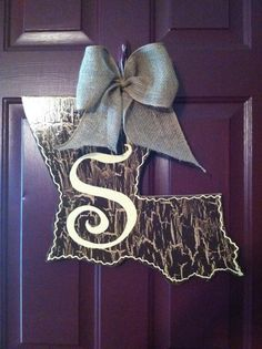 Louisiana State Initial Door Hanger with Burlap Bow by CrossHerArt on Etsy