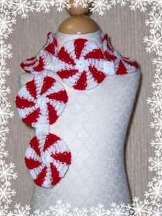 project, idea, craft, crochet scarf patterns, peppermint, scarves, yarn, christma, crochet scarfs