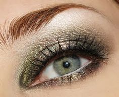 Great gold-green eye make-up