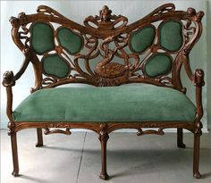 Carved Art Nouveau Settee - life sized and gorgeous