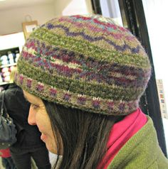 Penny's Scatness Tam from Kate Davies Colours of Shetland book.  Knitted in Jamieson's Spindrift