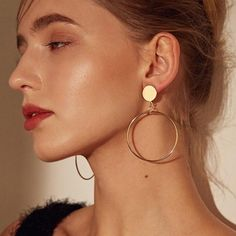 Iparam 15 styles simple gold large circle pendant earrings statement women's geometric gold big earring jewelry jew - Ohrringe ideen Tiny Stud Earrings, Circle Earrings, Round Earrings, Gold Hoop Earrings, Pendant Earrings, Crystal Earrings, Clip On Earrings, Statement Earrings, Women's Earrings