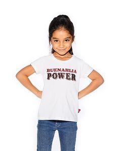 Camiseta blanca 'Buenahija Power' My Wish List, Club, T Shirt, Tops, Women, Fashion, White T Shirts, Bordeaux, Sequins