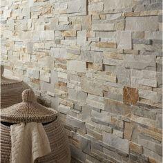 Plaquette de parement Elégance en pierre naturelle, beige, Pièces humides sauf douche