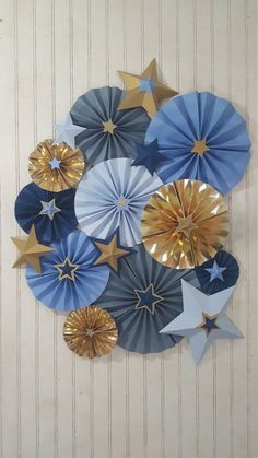 Navy and Gold Twinkle Twinkle Little Star Rosette Pinwheels