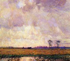 Labourer le long du canal, huile sur toile de William Langson Lathrop (1859-1938, United States)
