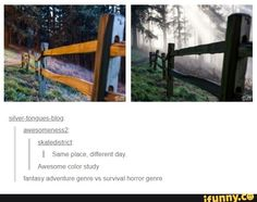 Awesome color study amasy adventure genre vs survwa horror genre popular memes on the site 853009985656302198 My Tumblr, Tumblr Posts, Tumblr Funny, Funny Memes, Hilarious Quotes, Overwatch, A Silent Voice, Color Studies, That Way