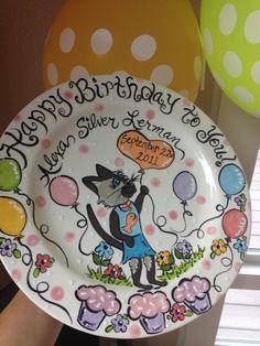 Childs Birthday Celebration plate custom by PotteryandPaintbrush, $50.00