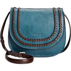 Tignanello Classic Boho Saddle Bag ($111) ❤ liked on Polyvore featuring bags, handbags, shoulder bags, juniper, blue shoulder bag, blue purse, blue handbags, leather saddle bags and blue leather purse