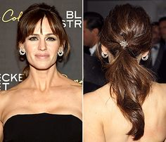 Jennifer Garner wore a sleek ponytail with an ornate accessory to the Danny Collins premiere.