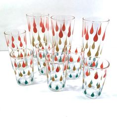 Mid-Century Atomic Tear Drop 9-Piece Bar Set Vintage Dishes, Vintage Glassware, Collins Glass, Mai Tai, Retro Pattern, Bar Set, Vintage Handbags, Pint Glass, Barware