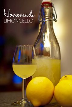 There is nothing quite like sipping a small, ice-cold glass of limoncello after a delicious dinner on a summer evening. In this post I show you how to make homemade limoncello. It's super easy, I promise! Summer Drinks, Cocktail Drinks, Fun Drinks, Cocktail Recipes, Alcoholic Drinks, Beverages, Making Limoncello, Homemade Limoncello, How To Make Lemoncello