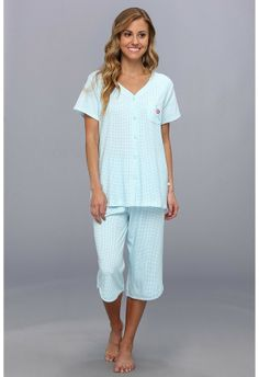 Karen Neuburger Gingham Style S S Cardigan Crop PJ Women s Pajama Sets on  shopstyle.com 754654932