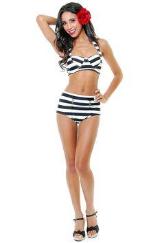 $68 Nautical stripe pin up #Vintage #Inspired #Swimsuit #Swimwear #Bathing #Suit #Swim #Bikini #Pin #Up