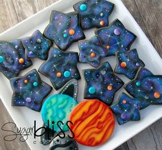 These Galaxy star cookies! Cookies by Star Cookies, Cute Cookies, Iced Cookies, Royal Icing Cookies, Cookies Et Biscuits, Owl Cookies, Iced Biscuits, Cupcakes, Cupcake Cakes